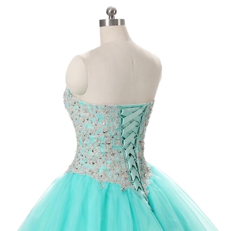 2017 echte foto tulle baljurk quinceanera jurk met applique en kralen - Jurken voor bijzondere gelegenheden - Foto 6