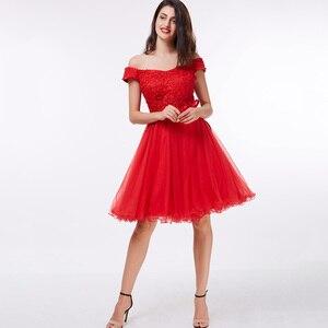 Image 4 - Dressv כבוי כתף קוקטייל שמלה שחור ללא שרוולים הברך אורך קו תחרה עד שיבה הביתה קצר קוקטייל שמלות