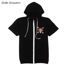 2017 new arrivals One Piece Luffy Coat short sleeve hooded Jacket men thin tops boys clothes mens jackets and coats outerwear