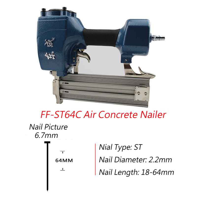 2017 New Arrival Air Concrete Nailer ST64C Nail Gun For 18-64mm Steel Nail 0.4-0.8 MPa Air Nail Gun For 2.2mm Diameter Nail special hard concrete nails wall paintings nail