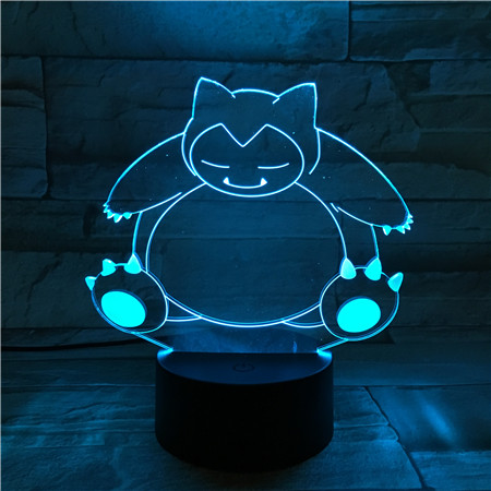 Snorlax Table Lamp Bedroom USB Touch Sensor RGB Decoration Nightlight Child Kids Gift Cartoon Toys Game Pokemon LED Night Light