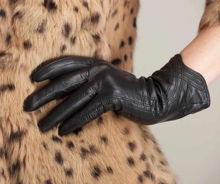 High Quality Women Genuine Sheepskin Winter Women Leather Gloves Lady knitting lined Warm Winter Mittens women gloves 47