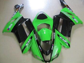 HiXF quality plastic Fairing kit for Kawasaki ZX 6R 2007 2008 bodywork NINJA zx6r 07 08 green black ABS fairings set XF17