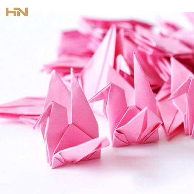Diy 50pc Colorful Paper Garland Origami Crane With Invisible Silk