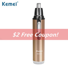 Kemei Electric shaving nose ears hair trimmer Rechargeable washable safe face care stainless steel Mini shaving trimmer N30C цены онлайн