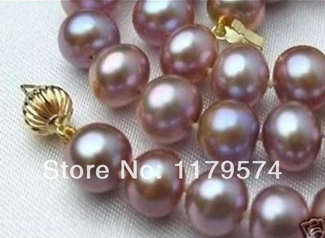 "8-9mm Pink Purple Akoya Cultured Pearl Necklace 17""xu102"
