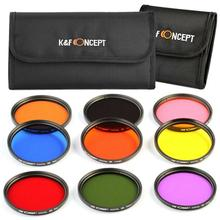 9 Pcs Round Full Color Lens Filter Kit K&F Concept  Accessories For DSLR Camera