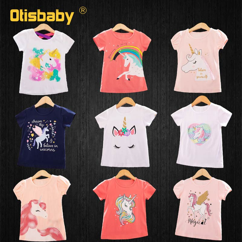 Mother Kids Print Unicorn T Shirt For Girls Mother Daughter Matching Family Outfits Tops Sister Shirts Sequins Horse Clothes