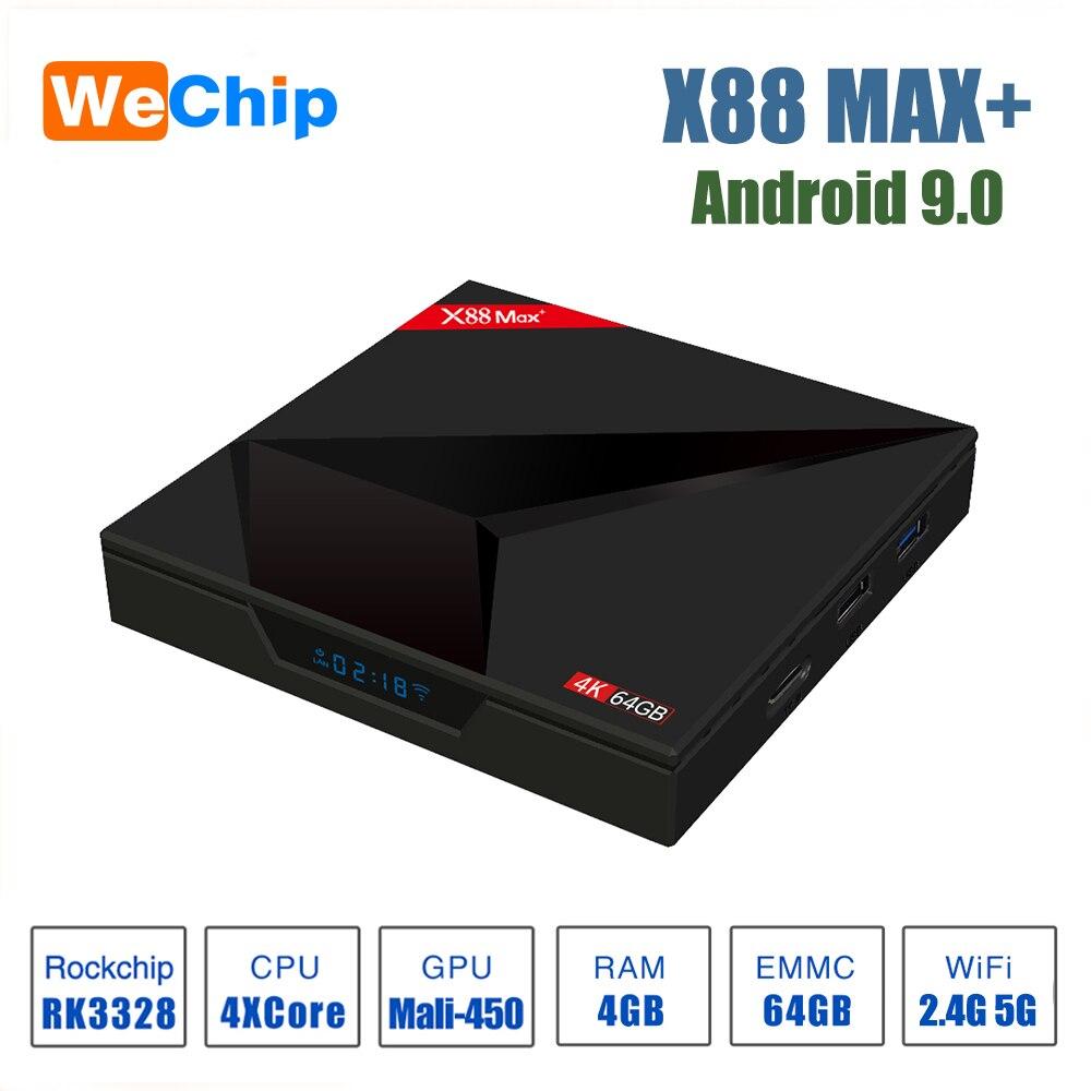 Android 9.0 TV BoxTV Box X88 Max Plus 4 go 64 go Rockchip RK3328 Quad-Core 64bit 2.4G/5GHz double WiFi 4K Google Play Store PK TX6