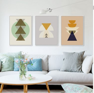 Triptych Modern Minimalist Nordic Totem Maya Inka Symbol Abstract Art Print Poster Hipster Picture Canvas Painting Home Decor