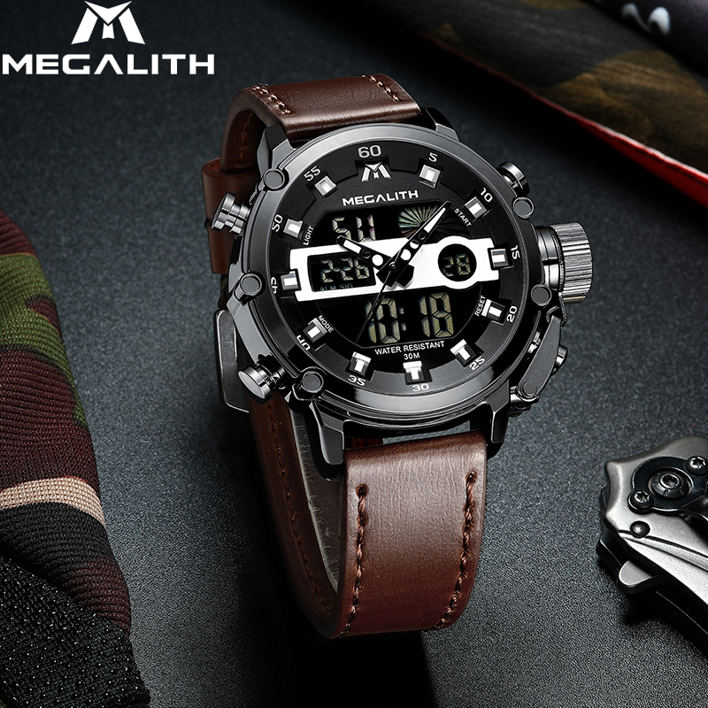 MEGALITH Fashion Men's LED Quartz Watch Men Military Waterproof Watch Sport Multifunction Wrist Watch Men Clock Horloges Mannen