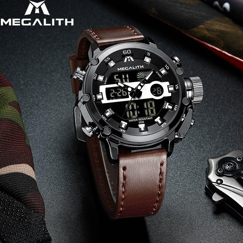 MEGALITH homens Da Moda LED Relógio de Quartzo Homens Militar Relógio Do Esporte Multifuncional Relógio De Pulso À Prova D' Água Homens Relógio Horloges Mannen