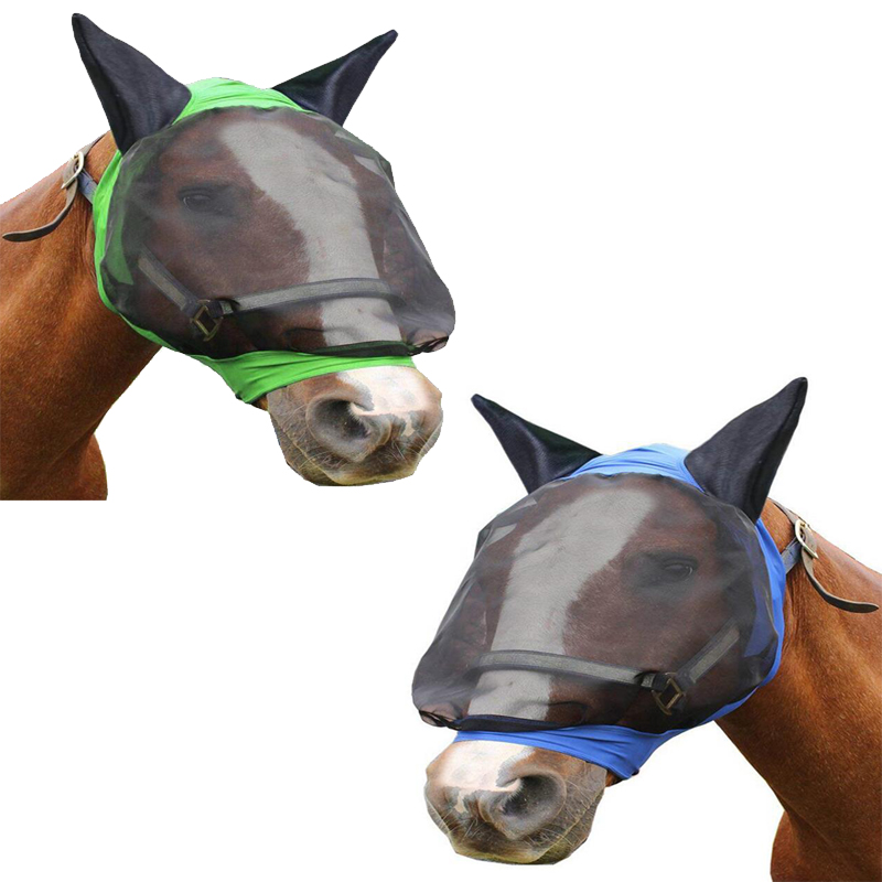 Horse Mask Air-permeable Comfortable Horse Mask Summer Mosquito-proof EquestrianEquipment Horse Ear Mask Horse Prote
