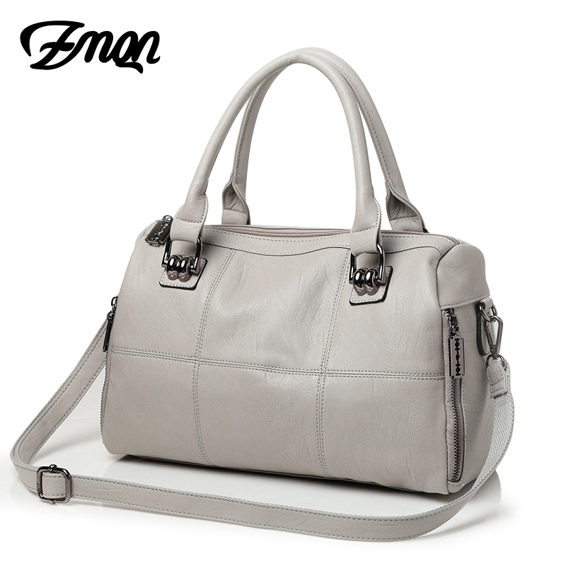 ZMQN Women Messenger Bags Leather Handbags Big Capacity Grey Grid Pillow Bag Tote Hand Bags For Mature Womens Famous Brands A843 new genuine leather bags for women famous brand boston messenger bags handbags tassel tote hand bag woman shoulder big bag bolso