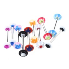20 x tongue piercing tongue pierced acrylic stainless steel bar rhinestone dyeing trend