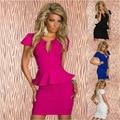 2015 Hot venta 4 Color hoja de loto de encaje sexy escote en v cintura mujeres vestido clubwear patry vestidos night club sexy vestido envío gratis