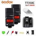 2x TT350C GODOX Flash Da Câmera 2.4G Sem Fio TTL HSS GN36 luzes Bolso + X1T-C Transmissor de Flash Speedlite Para Canon câmera