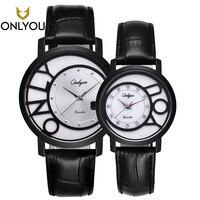Mejor ONLYOU 2017 nuevos amantes reloj de negocios relojes de pulsera de cuarzo de moda de lujo relojes de pulsera de diamantes reloj negro