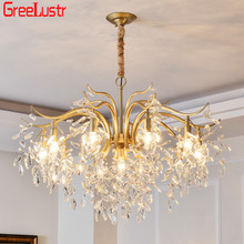 American Classic Crystal chandelier lighting Luxury Gold Lustres suspended led kitchen fixture For Hotel Bar