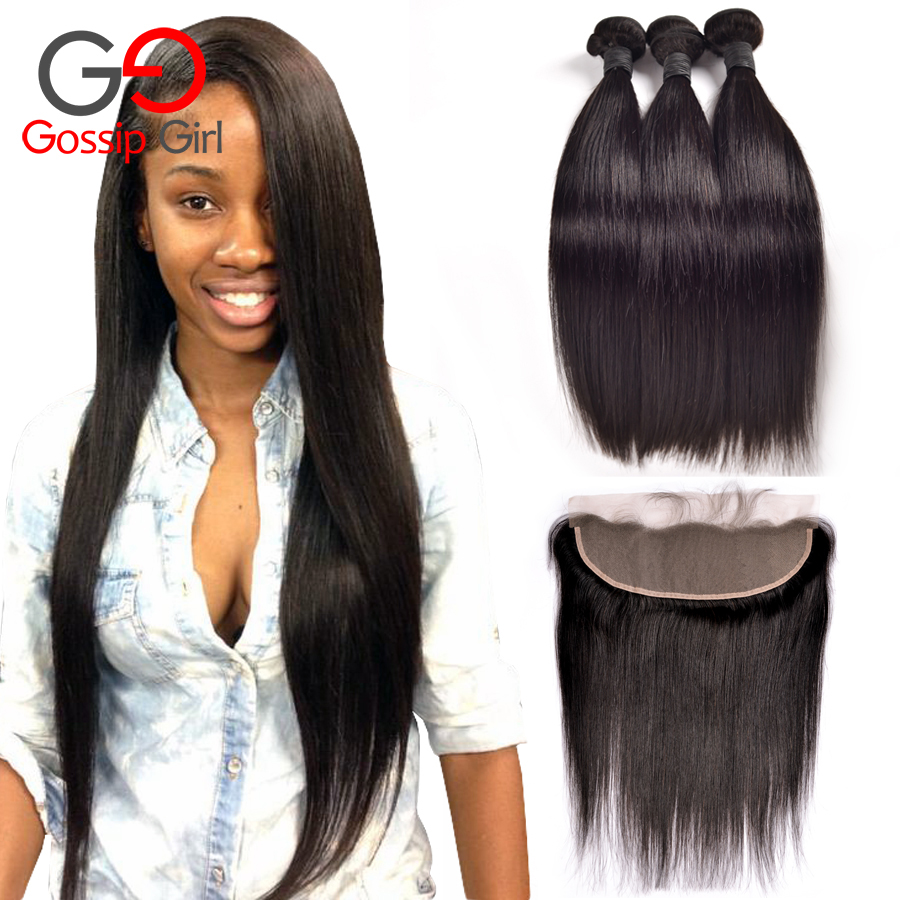 Top 7A Mink Brazilian Virgin Hair With Closure Brazilian Straight Hair With Closure Ear To Ear Lace Frontal Closure With Bundles
