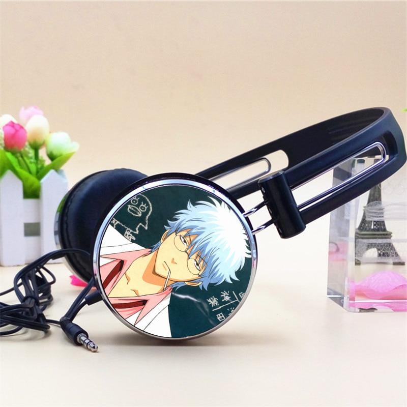 Custom Gintama Sakata Gintoki Sadaharu Anime Headphone Adjustable Headphones Gaming Headset Stereo Headphones for Phone Mp3 PC