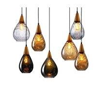 Modern Creative LED Pendant Lights Water Drop Glass Loft Pendant Lamp Ceiling for Loft Kitchen Island Cafe Bar Dining Room