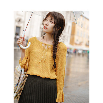 INMAN Spring Autumn Round Collar Bandage Loose Style Flare Sleeve Women Pullover Sweater - discount item  71% OFF Sweaters