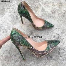 ホット販売の女性はファッションデザインのハイヒールの靴高品質グリーンヘビ柄プリント本革カジュアルシューズ 2019