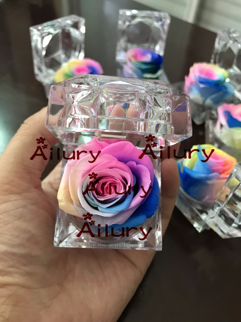 12pcs wholesale Valentine s Day present mother gift Christmas gift Xmas preserved rainbow rose ring box