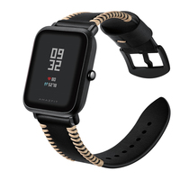 20mm Watch Band For AMAZFIT Handmade Genuine Leather Watch Strap For Xiaomi Huami Amazfit Bip Smart Watch Accessories Wristbands