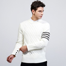quovadis2017 winter sweater men's wool   casual knit Pullover Sweater male British style white sueter hombre