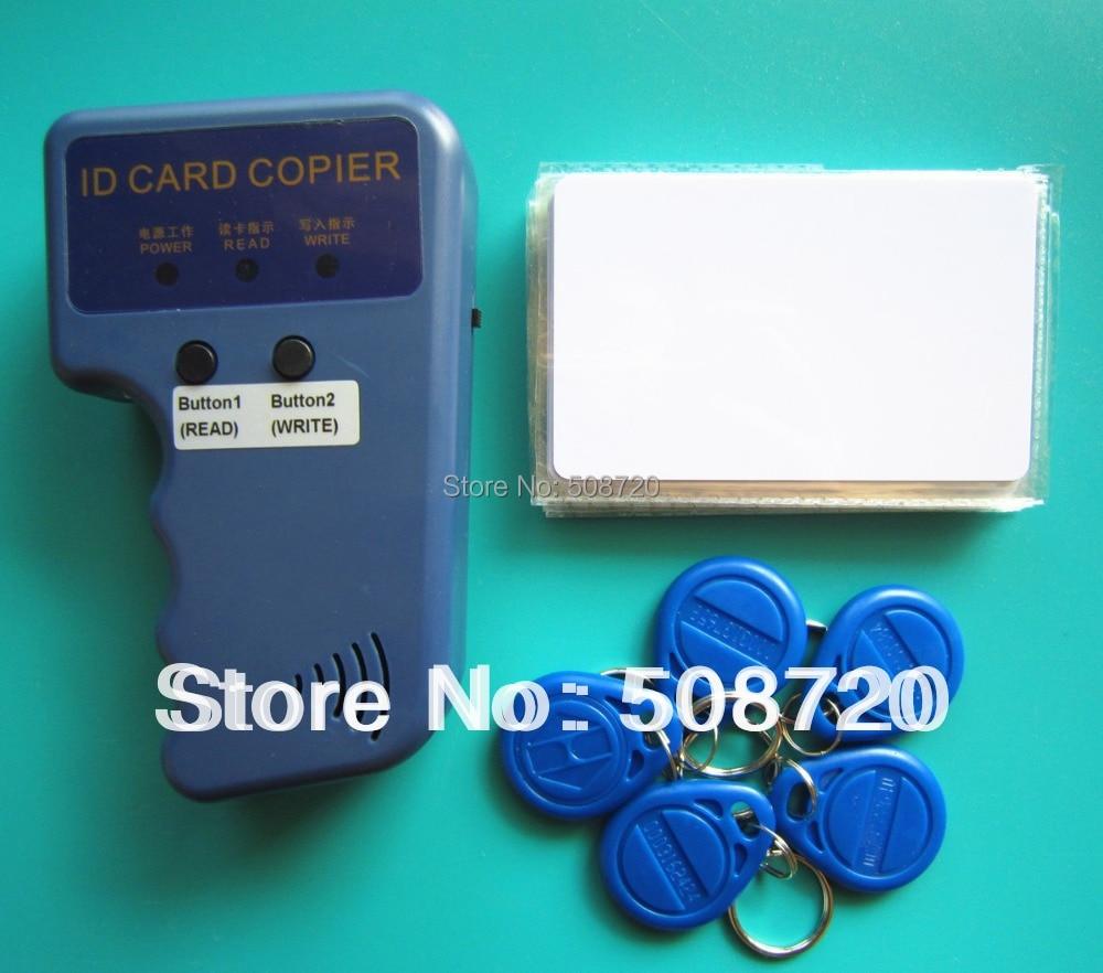 RFID Handheld Duplicator 125KHZ Card copier writer+5pcs EM4305 rewritable tags+5pcs T5577 rewritable cards handheld 125khz rfid duplicator key copier reader writer id card cloner programmer 5 keys 5pcs rewritable cards em4305 t5577