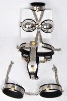 Chastity hombres de acero Inoxidable male chastity device (collar + sujetador + Esposas + para hombre cinturón de Castidad pantalones + de Las Polainas + anal + Esposas Para Tobillos) cock jaula