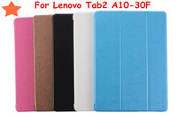 2016 New Tab 2 A10 30 Tablet Cases Grain Tri Folded Leather Case For Lenovo Tab2