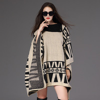 Saufuo Geometric Shawl Turn Down Collar Sweater Coat Poncho Women Winter Clothes Pullovers With Batwing Sleeve