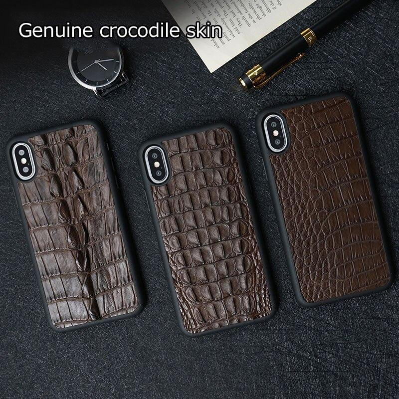 Natural de cuero genuino de cocodrilo para huawei p20 lite de alta calidad Funda de cuero para huawei p20 pro - 2