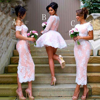 New Lace Appliques Satin Short Womens Ball Gown Bridesmaid Dresses Long Sleeves Wedding Party Dress For Bridal Gowns