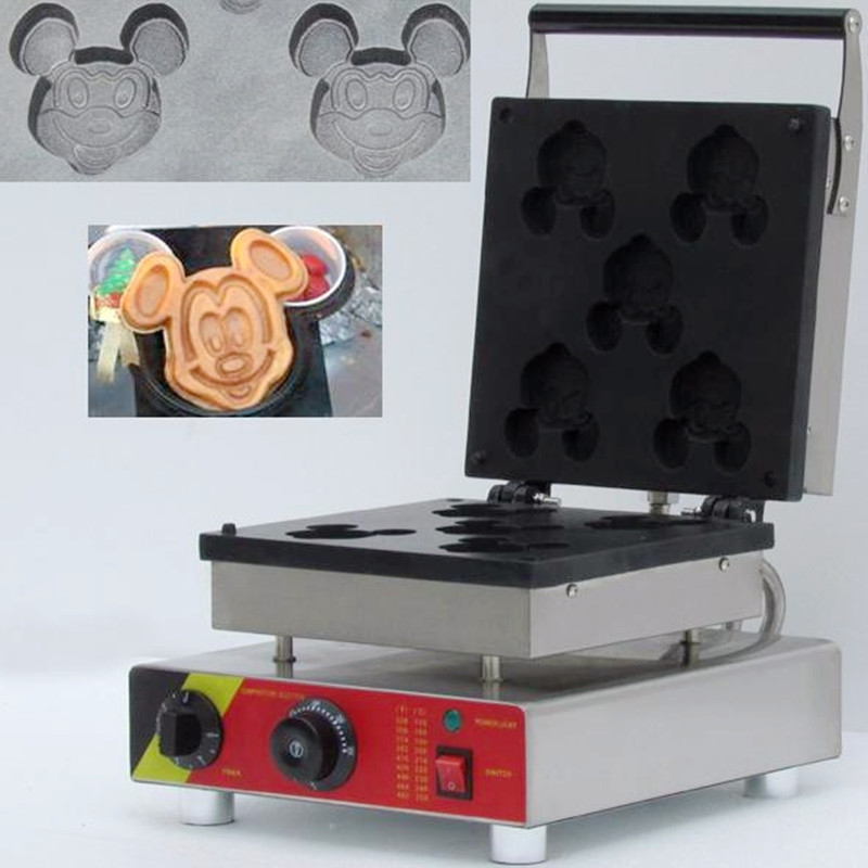 110/220V Commercial Electric Mickey Mouse Shape Waffle Making Machine Non Stick 5pcs Waffle Baker High Quality For Breakfast