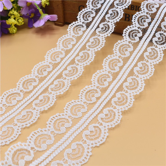 Hot 10 Yards Beautiful White Lace Ribbon Tape 45MM Lace Trim Fabric DIY  Embroidered Net Lace