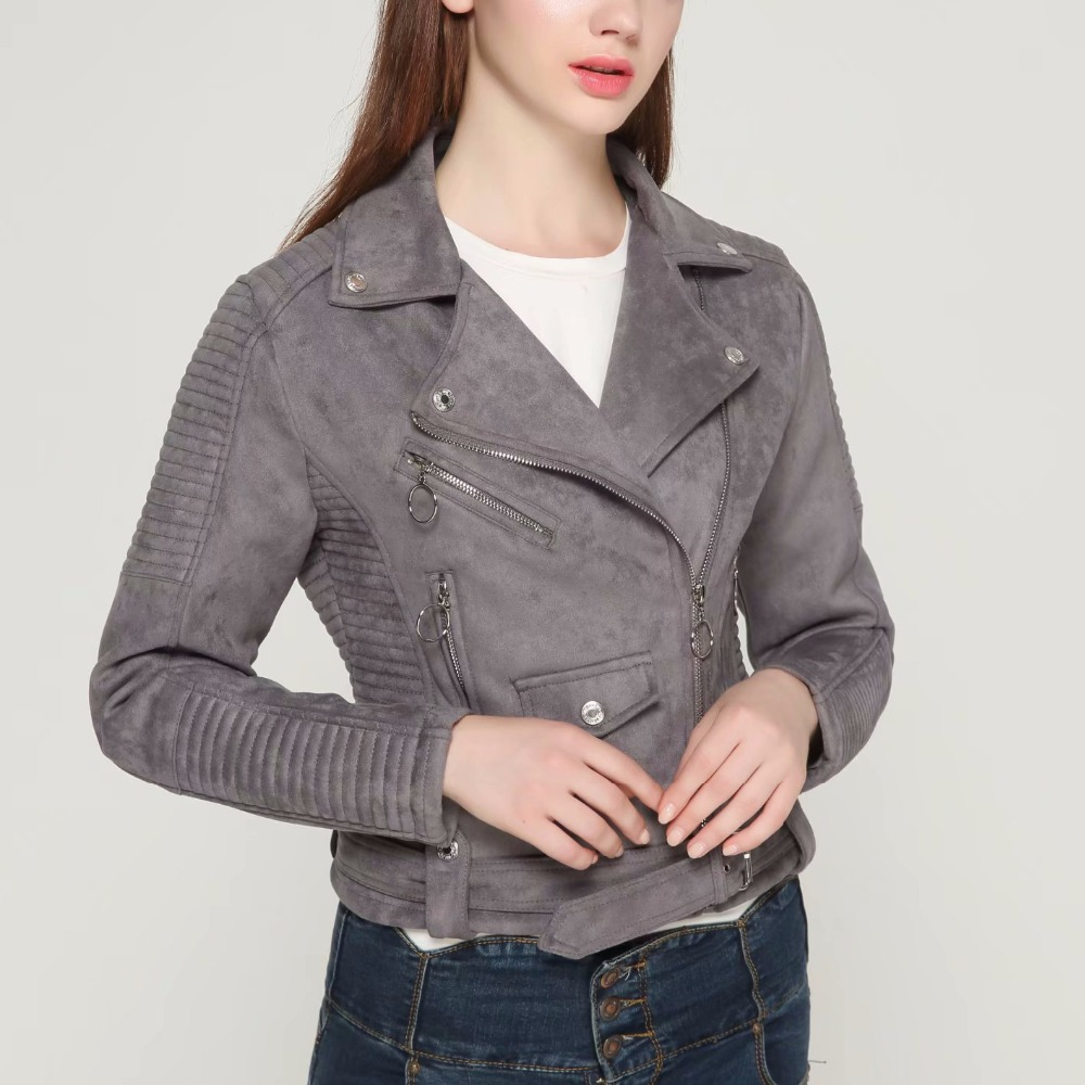 2019 New Arrial Women Autumn Winter Suede Faux Leather Jackets Lady Fashion Matte Motorcycle Coat Biker Gray Brown Outwear Warm