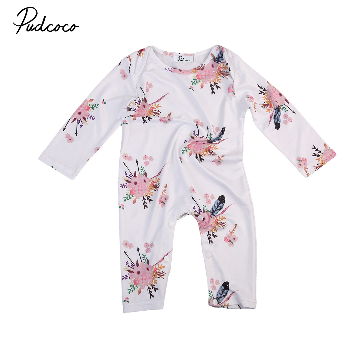 Autumn Warm Cloth Newborn Toddler Baby Kids Girls Infant Long Sleeve Cotton Romper Jumpsuit Girl Floral Romper Outfit Sets 0-24M
