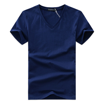 2017 summer Hot selling Men V neck t shirt cotton short sleeve tops high quality Casual Men Slim Fit Classic Brand t shirts 1