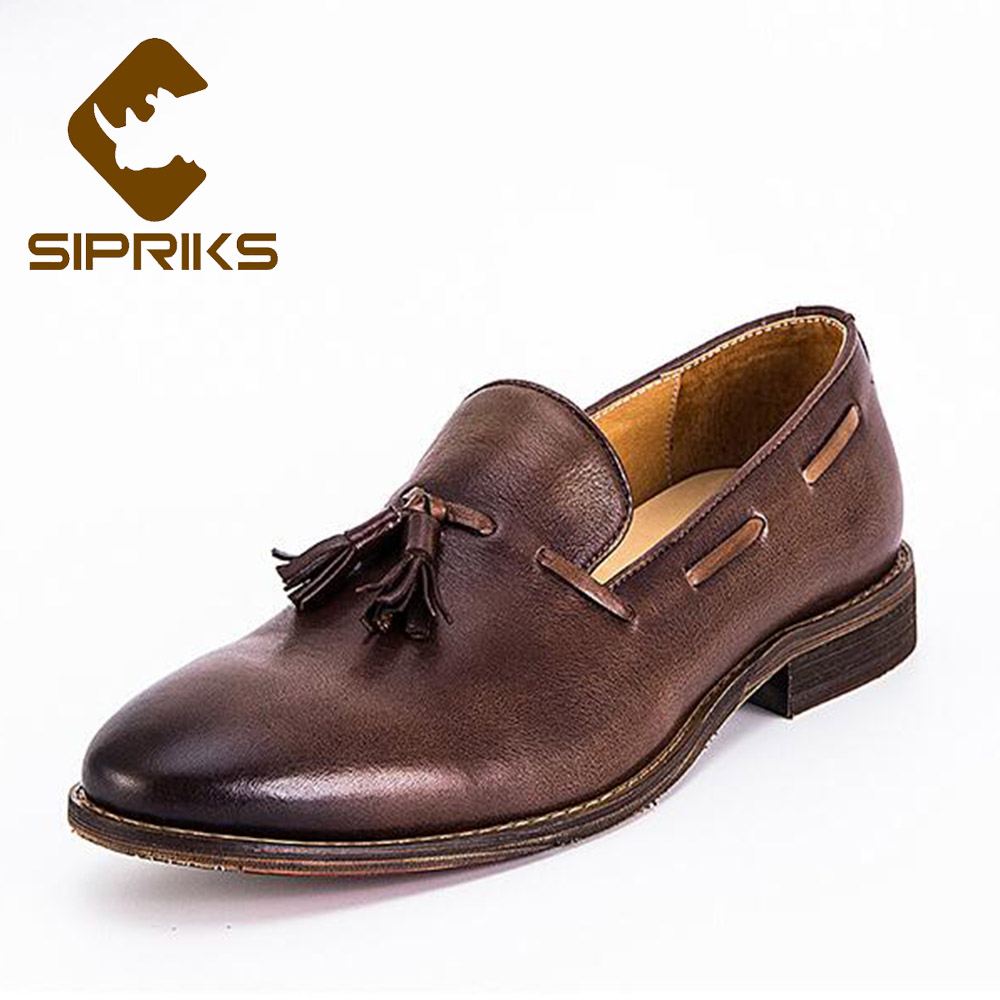 SIPRIKS Luxury Designer Tassels Loafers Classic Vintage Men's Leather Dark Brown Boat Formal Shoes Slip On Casual Shoes European цена