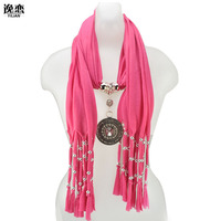 6 Colors Free Shipping Fashion Scarves For Women Jewellery Scarf With Palace Pendant SF261