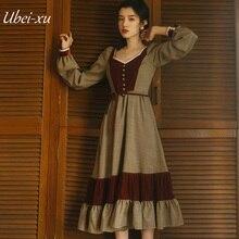 Ubei2019 Women Vintage long dress velvet patchwork plaid French minority dresses