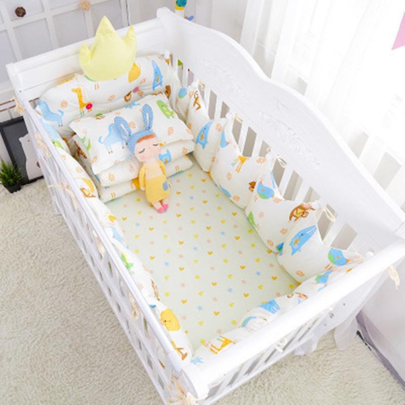 9pcs/set Baby Bedding Sets Infant Cot Bed Linens Kit Baby Crib Bumpers Soft Newborns Quilt Pillow Sheet Bedding Set Multicolor