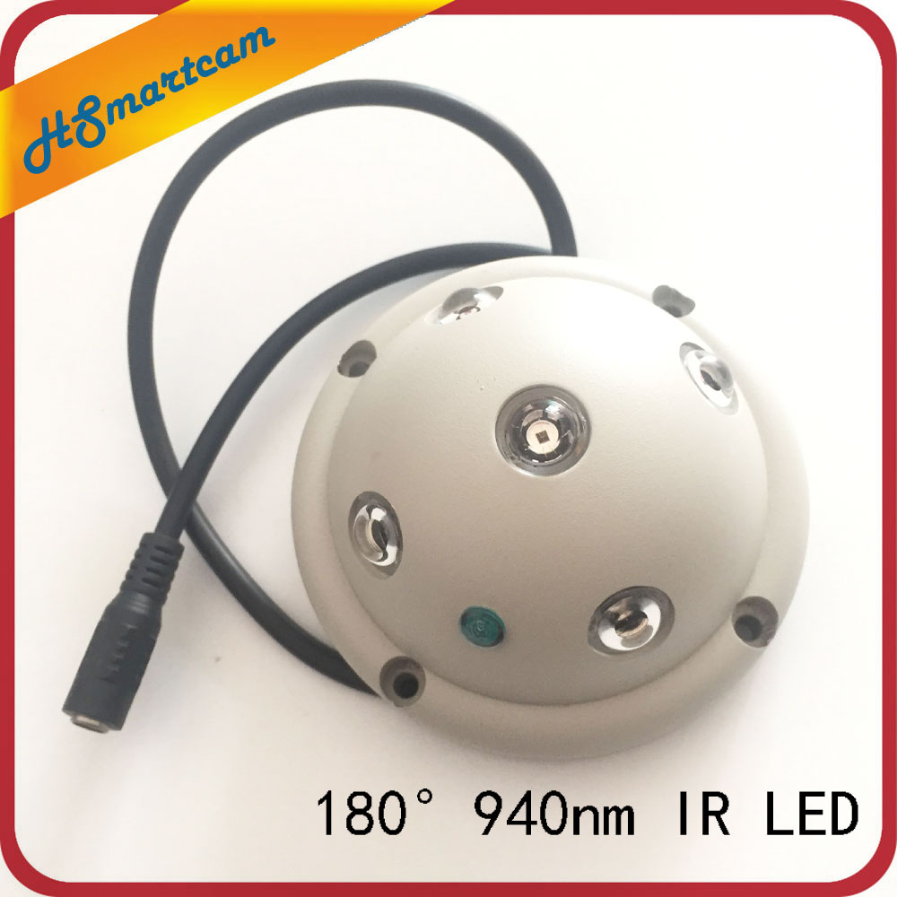 New Ultra Wide Angle IR 940nm invisible light lamps 5 IR LED Illuminator IR Infrared Night Vision Light for Security CCTV Camera