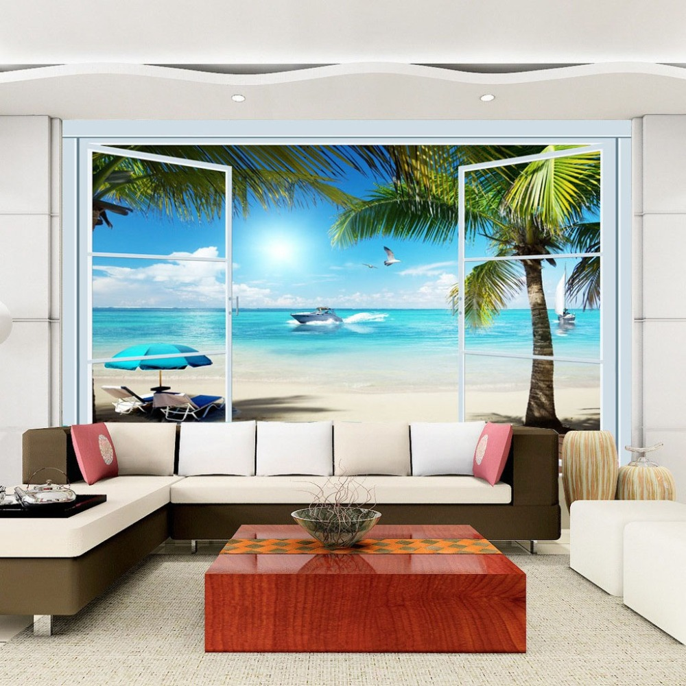 Custom 3d photo wallpaper ocean view 3d stereo window tv custom 3d photo wallpaper ocean view 3d stereo window tv background wall mural wall painting living room wallpaper home decor in wallpapers from home amipublicfo Gallery