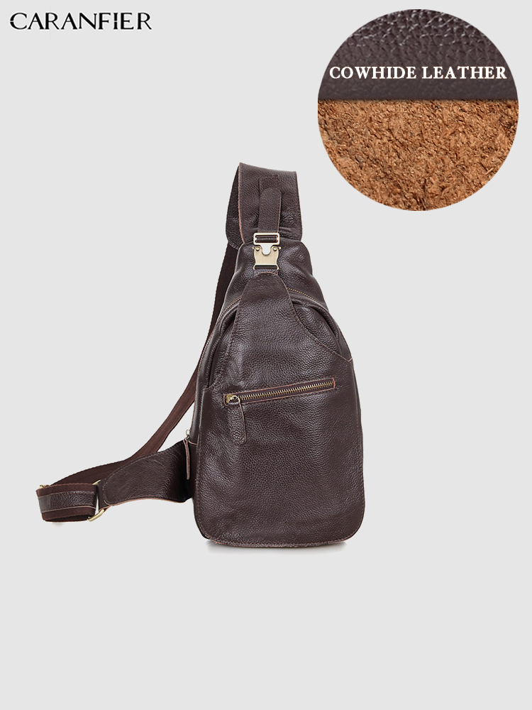 CARANFIER Mens Chest Bags Vintage First Layer Genuine Cowhide Leather Travel Waist Bags High Quality Casual Male Shoulder BagsCARANFIER Mens Chest Bags Vintage First Layer Genuine Cowhide Leather Travel Waist Bags High Quality Casual Male Shoulder Bags
