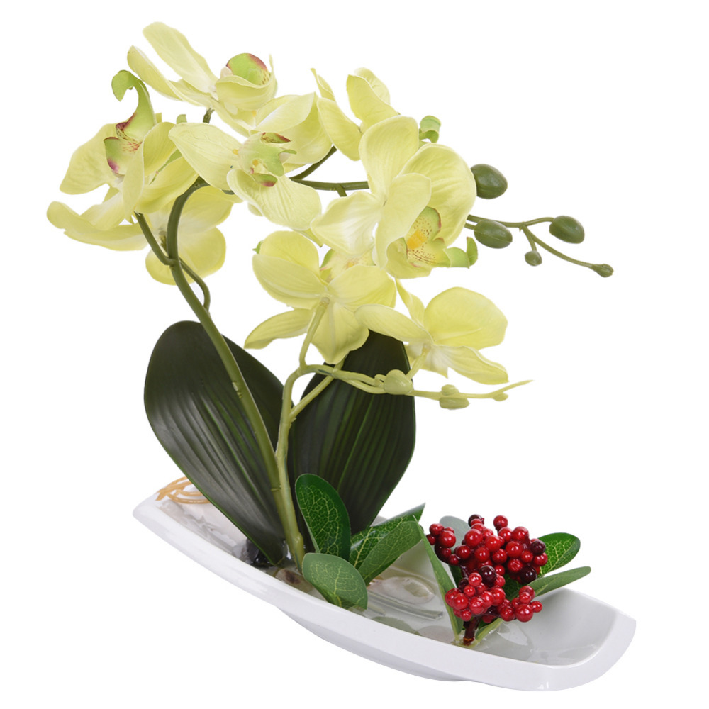 Orchid Bonsai Pot Plant Artificial Phalaenopsis Silk Cloth ...